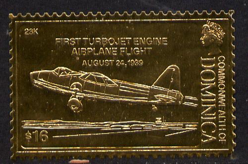 Dominica 1978 History of Aviation (First Turbojet Airplane) $16 embossed on 23k gold foil unmounted mint