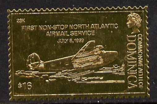 Dominica 1978 History of Aviation (Clipper Flying Boat) $16 embossed on 23k gold foil unmounted mint