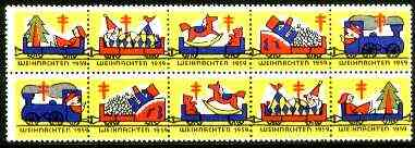 Cinderella - Germany 1959 Christmas TB seal set of 2 se-tenant strips of 5 showing Toy Trains unmounted mint
