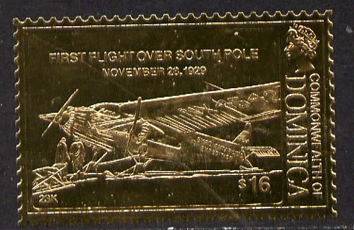 Dominica 1978 History of Aviation (First Flight over South Pole) $16 embossed on 23k gold foil unmounted mint