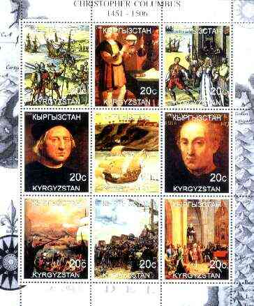 Kyrgyzstan 2000 Christopher Columbus perf sheetlet containing set of 9 values unmounted mint
