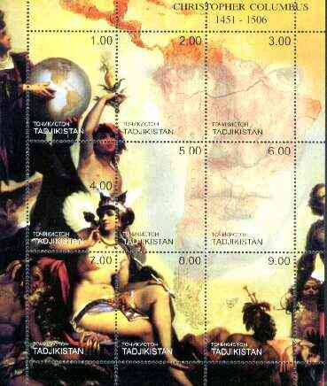 Tadjikistan 2000 Christopher Columbus composite perf sheetlet containing set of 9 values unmounted mint
