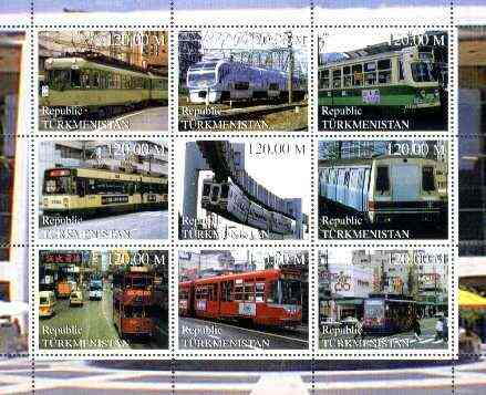Turkmenistan 2000 Buses & Trams perf sheetlet containing set of 9 values unmounted mint
