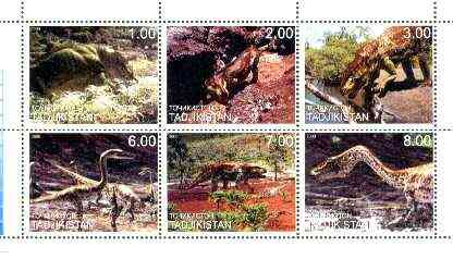 Tadjikistan 2000 Prehistoric Animals perf sheetlet containing set of 6 values unmounted mint