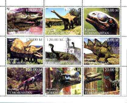Turkmenistan 2000 Prehistoric Animals perf sheetlet containing set of 9 values unmounted mint