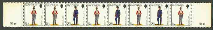 Booklet - Guernsey 1974-78 Militia Uniforms 10p booklet strip of 8 (1/2p x 5, 2.5p x 3) unmounted mint, SG 98a