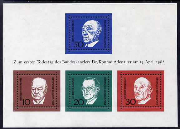 Germany - West 1968 Adenauer Commemoration (1st issue) m/sheet unmounted mint SG MS1459
