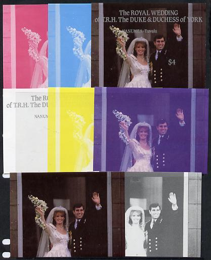 Tuvalu - Nanumea 1986 Royal Wedding (Andrew & Fergie) $4 m/sheet set of 8 imperf progressive colour proofs comprising the 5 individual colours plus 3 composites unmounted mint