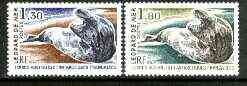 French Southern & Antarctic Territories 1981 Leopard Seal 1f 30 & 1f 80 from Antarctic Fauna set of 5 unmounted mint, SG 152-53*