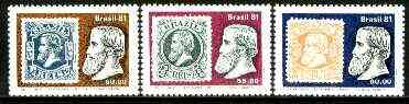 Brazil 1981 Cent of Pedro II 'small head' stamps set of 3 unmounted mint SG 1908-10*