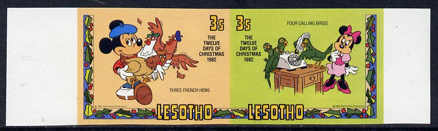 Lesotho 1982 Walt Disney Christmas 3s unmounted mint imperf se-tenant pair, as SG 525a