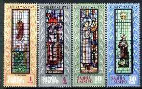Samoa 1972 Christmas set of four stained glass windows in Apia unmounted mint SG 400-403