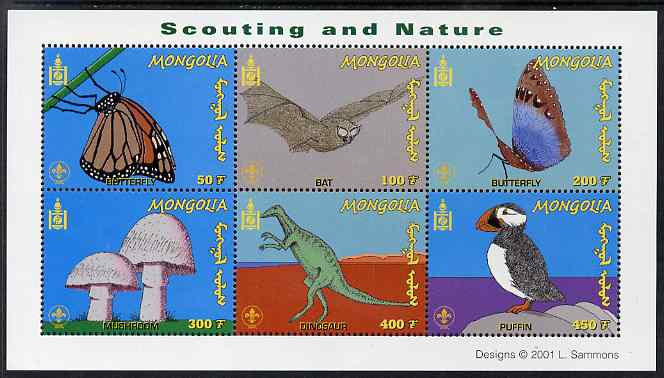 Mongolia 2001 Scouting & Nature perf m/sheet containing 6 values unmounted mint, SG MS 2950a