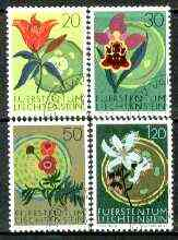 Liechtenstein 1970 Nature Conservation Year set of 4 flowers fine used, SG 519-22*