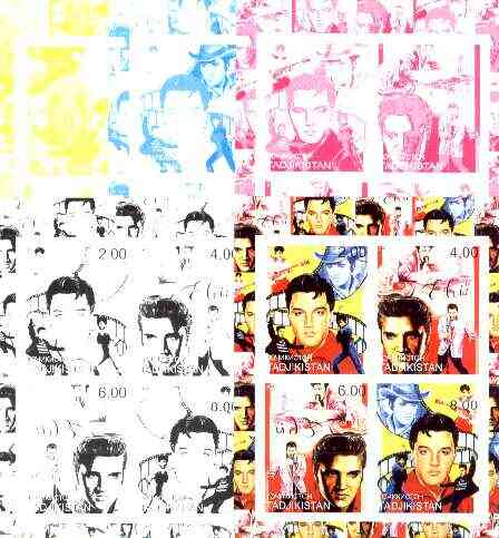 Tadjikistan 2000 Elvis Presley sheetlet of 4, the set of 5 imperf progressive colour proofs comprising the 4 individual colours plus all 4-colour composite unmounted mint