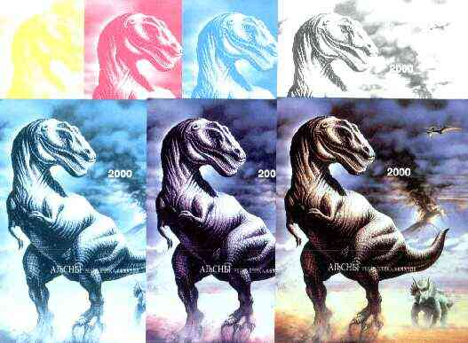 Abkhazia 1997 Dinosaurs souvenir sheet (2000 value) the set of 7 imperf progressive proofs comprising the 4 individual colours, plus 2, 3 and all 4-colour composites unmo...