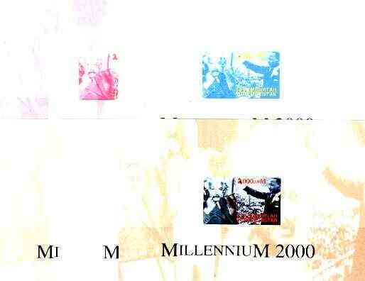 Turkmenistan 2000 Millennium souvenir sheet (Einstein & Martin Luther King) the set of 5 imperf progressive proofs comprising  various colour combinations incl all 4-colo...