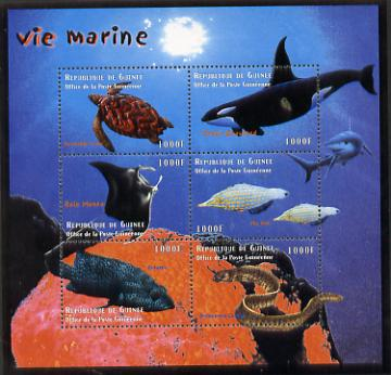 Guinea - Conakry 1998 Marine Life #2 perf sheetlet containing 6 values, Michel 2202-07 unmounted mint. Note this item is privately produced and is offered purely on its thematic appeal