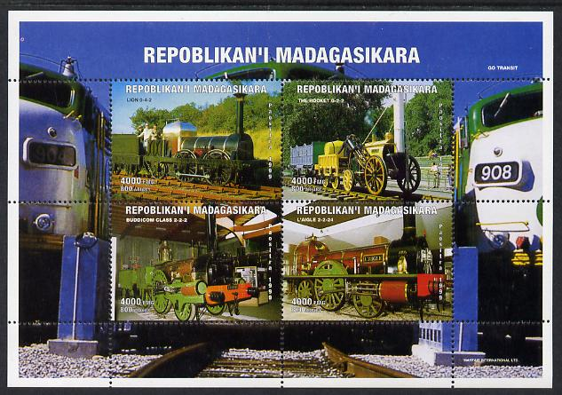 Madagascar 1999 Early Steam Locomatives perf sheetlet containing 4 values unmounted mint. Note this item is privately produced and is offered purely on its thematic appeal