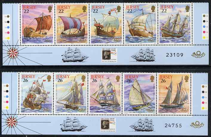 Jersey 2000 'The Stamp Show 2000' - Maritime Heritage set of 10 unmounted mint, SG 936-45