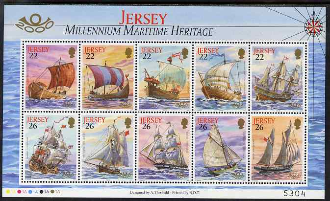 Jersey 2000 'The Stamp Show 2000' - Maritime Heritage perf m/sheet of 10 unmounted mint, SG MS946