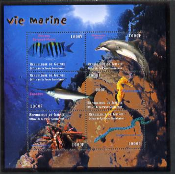 Guinea - Conakry 1998 Marine Life #4 perf sheetlet containing 6 values, Michel 2214-19 unmounted mint. Note this item is privately produced and is offered purely on its thematic appeal, stamps on marine life, stamps on fish, stamps on whales, stamps on dolphins, stamps on sharks