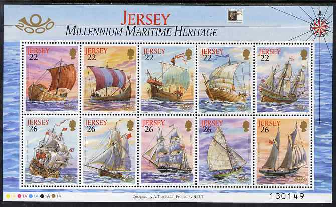 Jersey 2000 'The Stamp Show 2000' - Maritime Heritage perf m/sheet of 10 with Stamp show logo unmounted mint, SG MS946a
