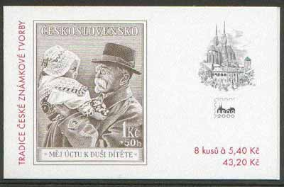Booklet - Czech Republic 2000 Tomas Masaryk 43k20 booklet (containing 8 x 5k40 stamps showing Masaryk stamp of 1938 plus 4 BRNO 2000 labels)