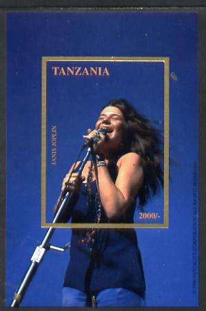 Tanzania 1996 Janis Joplin imperf deluxe self-adhesive m/sheet unmounted mint, stamps on personalities, stamps on music, stamps on rock, stamps on pops, stamps on women, stamps on self adhesive