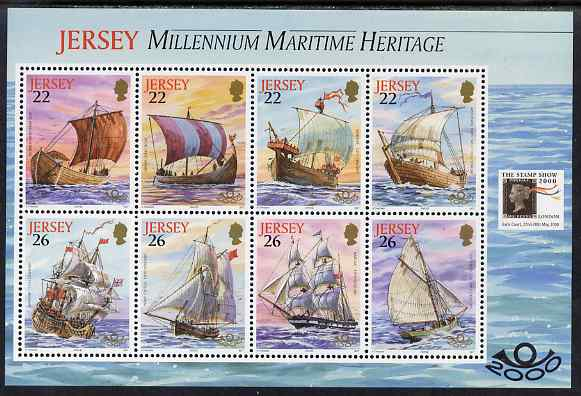 Jersey 2000 'The Stamp Show 2000' - Maritime Heritage perf booklet pane of 8 with Stamp show logo unmounted mint, SG MS936b