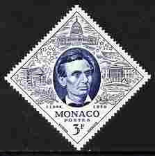 Monaco 1965 Abraham Lincoln 3f diamond shaped unmounted mint from Philatelic Exhibition set, SG 546*
