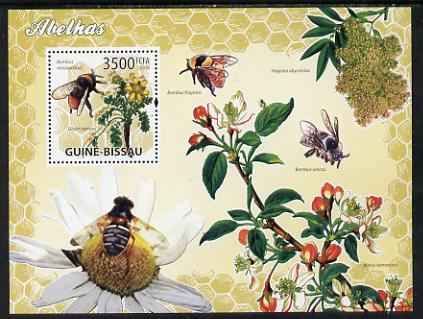 Guinea - Bissau 2009 Bees & Flowers perf s/sheet unmounted mint