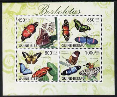 Guinea - Bissau 2009 Butterflies perf sheetlet containing 4 values unmounted mint