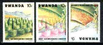 Rwanda 1983 Soil Erosion superb perforated proof comprising 10f black & red colours upright with 9f blue and yellow inverted.  A most unusual and spectacular item with the two appropriate normal stamps, all unmounted mint, stamps on environment, stamps on geology