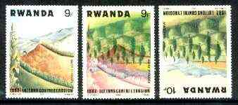 Rwanda 1983 Soil Erosion superb perforated proof comprising 9f black & red colours upright with 10f blue and yellow inverted.  A most unusual and spectacular item with the two appropriate normal stamps, all unmounted mint