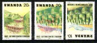 Rwanda 1983 Soil Erosion superb perforated proof comprising 20f black & red colours upright with 10f blue and yellow inverted.  A most unusual and spectacular item with the two appropriate normal stamps, all unmounted mint