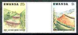 Rwanda 1983 Soil Erosion perforated se-tenant gutter pair comprising 9f and 20f from uncut archive sheet