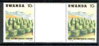 Rwanda 1983 Soil Erosion 10f perforated gutter pair from uncut archive sheet
