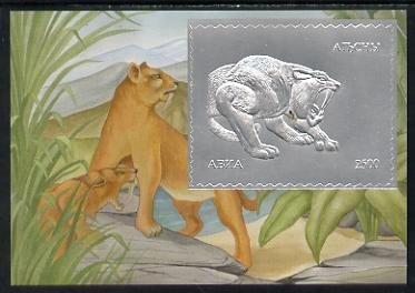 Abkhazia 1994 Prehistoric Mammals 2500 value m/sheet in silver unmounted mint
