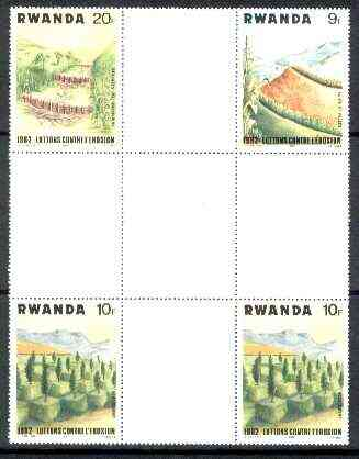 Rwanda 1983 Soil Erosion perforated se-tenant cross - gutter block of 4 comprising 9f, 20f and 2 x 10f (folded through gutter) from uncut archive sheet, rare thus