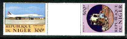 Niger Republic 1983 Manned Flight perforated se-tenant gutter pair comprising 300f & 500f (folded through gutter) from uncut archive sheet, rare thus, unmounted mint