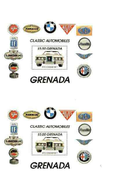 Grenada 1983 Motoring Anniversary (Cougar XR-7) $5 m/sheet joined pair from uncut archive sheet unmounted mint, scarce thus