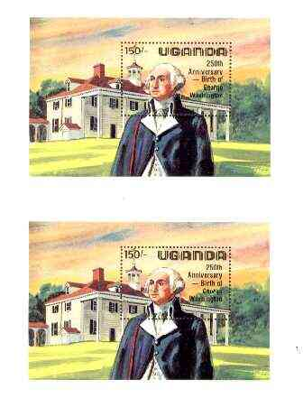 Uganda 1982 George Washington Birth Anniversary m/sheet (at Mt Vernon) joined pair from uncut archive sheet, as SG MS 390, scarce thus