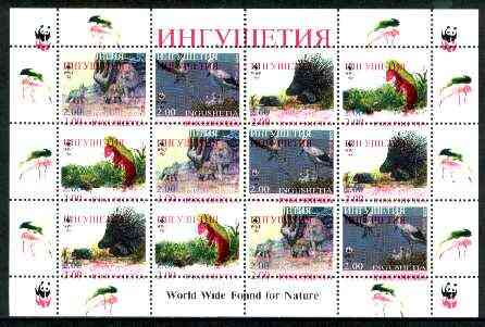 Ingushetia Republic 1998 WWF - Wild Animals & Birds perf sheetlet containing complete set of 12 (3 sets of 4) with superb 3mm drop of red (affects all 12 stamps & WWF logo in margin) unmounted mint
