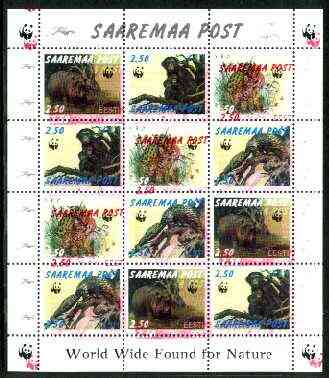 Estonia (Saaremaa) 1998 WWF - Wild Animals perf sheetlet containing complete set of 12 (3 sets of 4) with superb 4mm drop of red (affects all 12 stamps & WWF logo in margin) unmounted mint