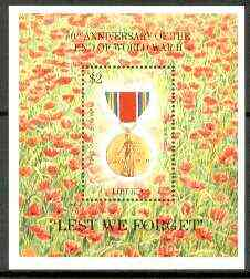 Liberia 1995 50th Anniversary of End of World War II m/sheet (Medal in Poppy field) unmounted mint, Sc 1179
