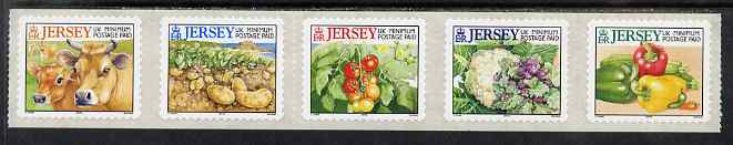 Jersey 2001 Jersey Cows & Farm Produce set of 5 self adhesives (2001 imprint) unmounted mint, SG 985-89