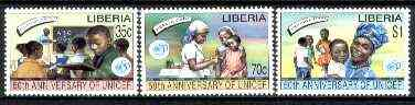 Liberia 1995 UNICEF 50th Anniversary set of 3 unmounted mint*