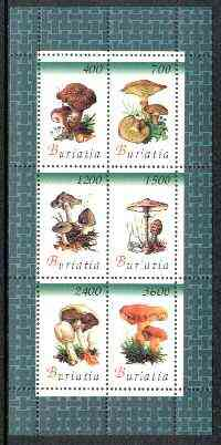 Buriatia Republic 1998 Fungi #04 perf sheetlet containing complete set of 6 values unmounted mint