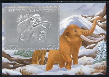South Ossetia Republic 1994 Prehistoric Mammals 2500 value m/sheet in silver unmounted mint